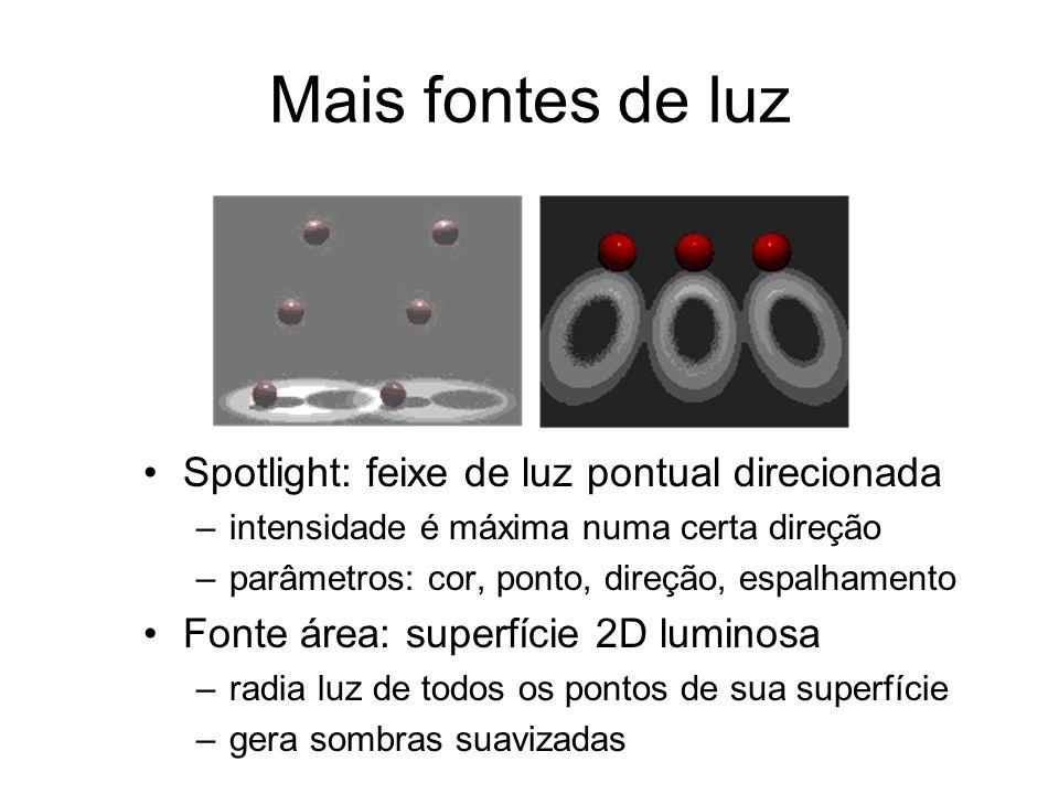 Mais fontes de luz Spotlight: feixe de luz pontual direcionada –intensidade é máxima numa certa direção –parâmetros: cor, ponto, direção, espalhamento