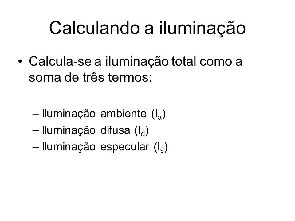 Calculando a iluminação Calcula-se a iluminação total como a soma de três termos: –Iluminação ambiente (I a ) –Iluminação difusa (I d ) –Iluminação es