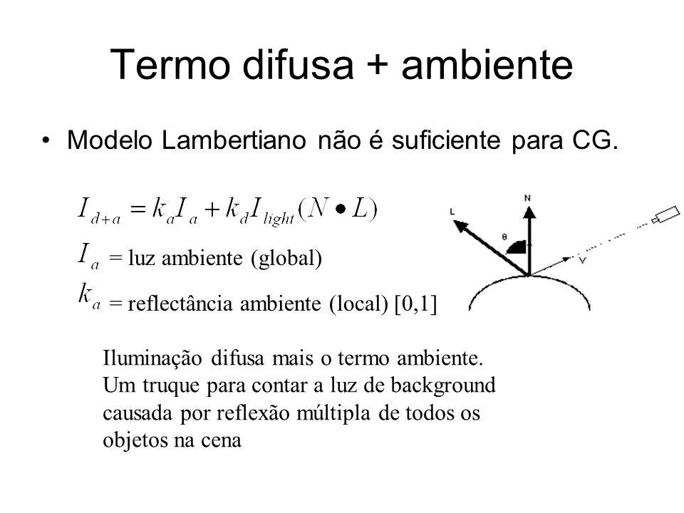 Termo difusa + ambiente Modelo Lambertiano não é suficiente para CG. = luz ambiente (global) = reflectância ambiente (local) [0,1] Iluminação difusa m