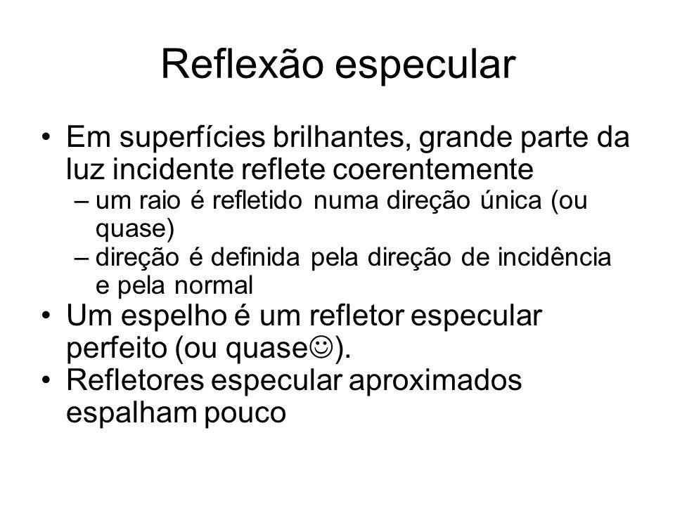 Reflexão especular Em superfícies brilhantes, grande parte da luz incidente reflete coerentemente –um raio é refletido numa direção única (ou quase) –