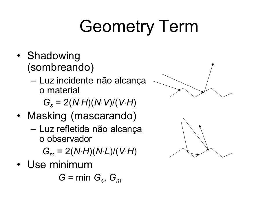 Geometry Term Shadowing (sombreando) –Luz incidente não alcança o material G s = 2(N H)(N V)/(V H) Masking (mascarando) –Luz refletida não alcança o o
