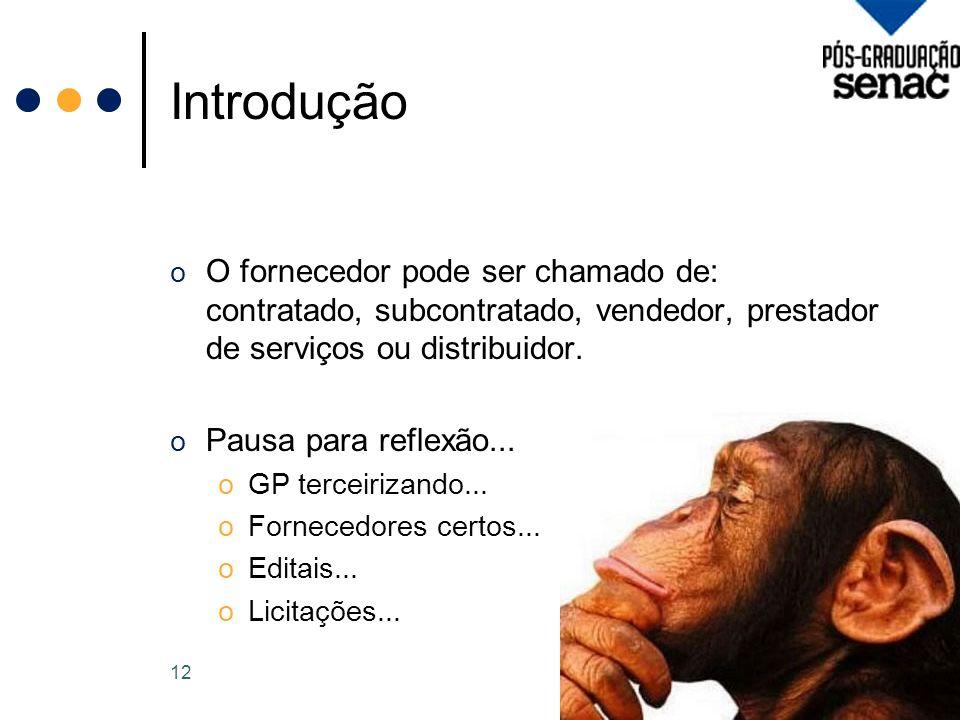 Introdução o O fornecedor pode ser chamado de: contratado, subcontratado, vendedor, prestador de serviços ou distribuidor.