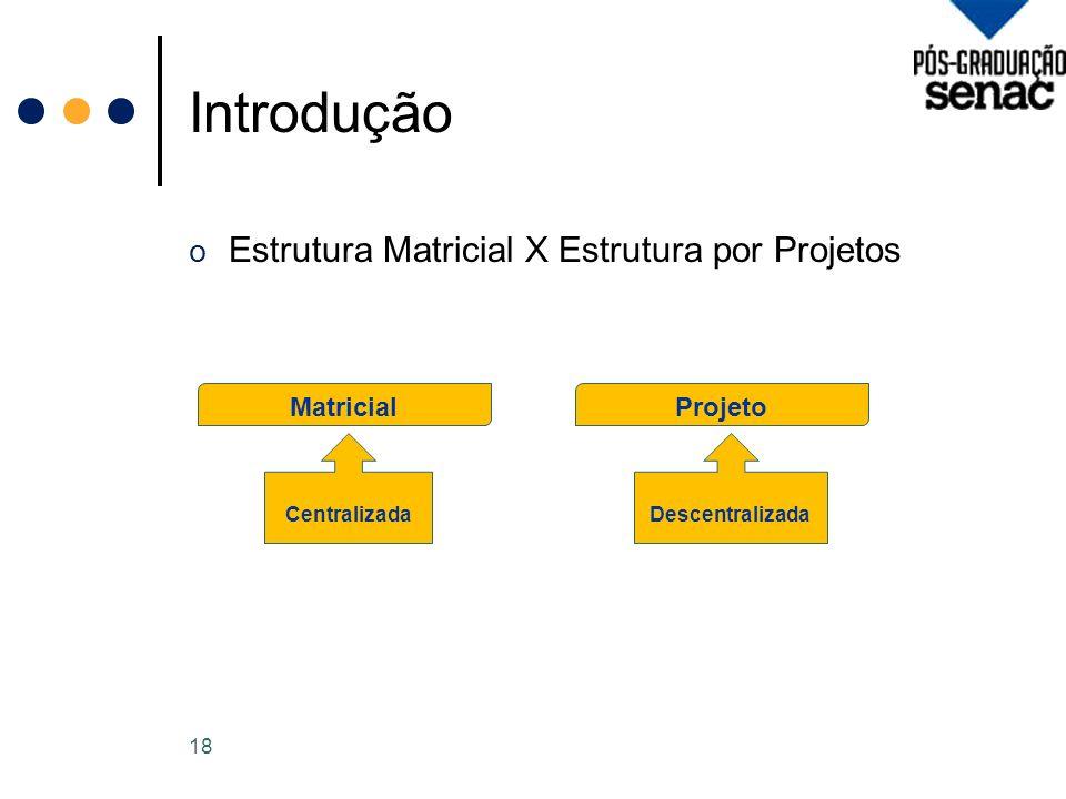 Introdução o Estrutura Matricial X Estrutura por Projetos 18 Matricial Centralizada Projeto Descentralizada