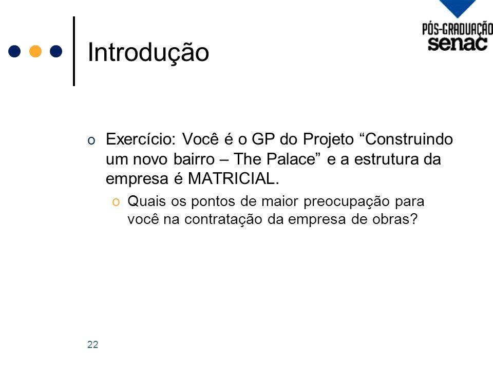 Introdução o Exercício: Você é o GP do Projeto Construindo um novo bairro – The Palace e a estrutura da empresa é MATRICIAL.