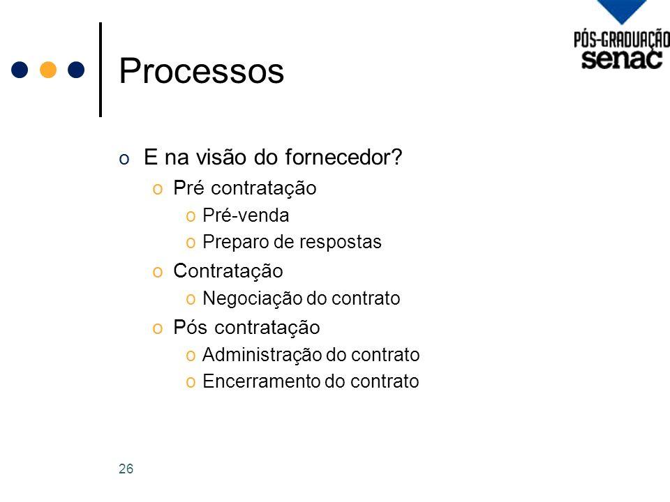 Processos o E na visão do fornecedor.