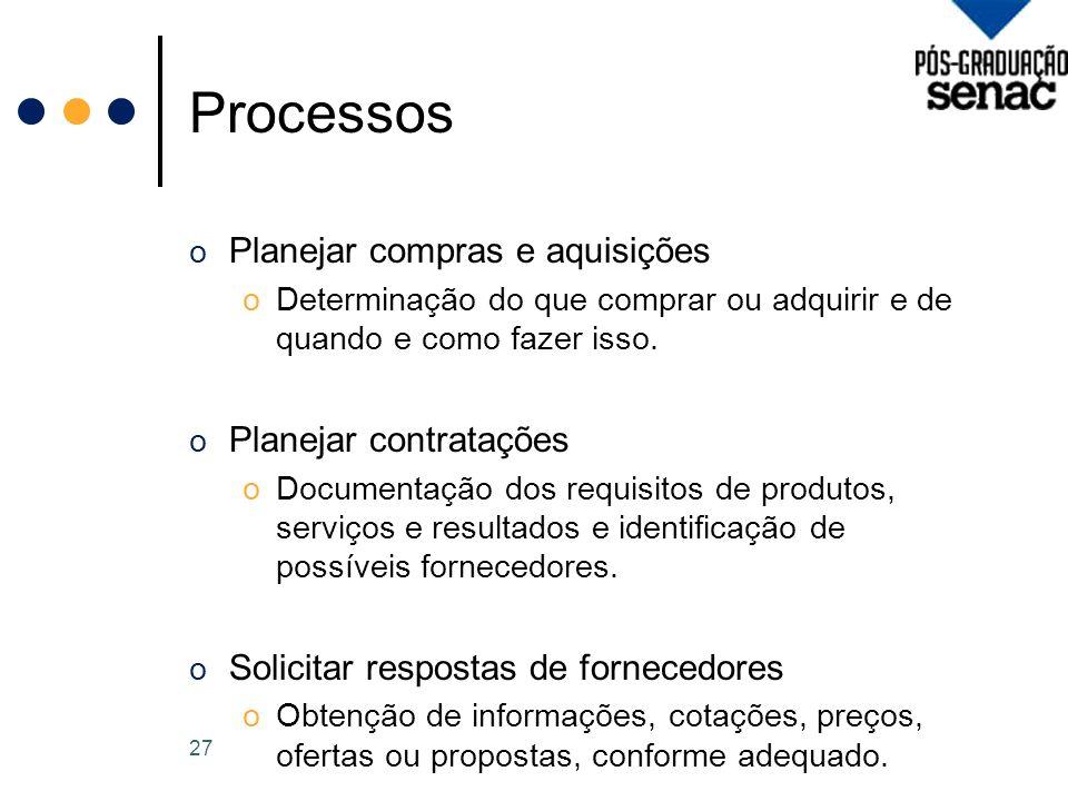 Processos o Planejar compras e aquisições oDeterminação do que comprar ou adquirir e de quando e como fazer isso.