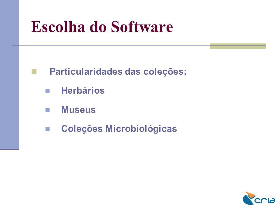 Escolha do Software Particularidades das coleções: Herbários Museus Coleções Microbiológicas