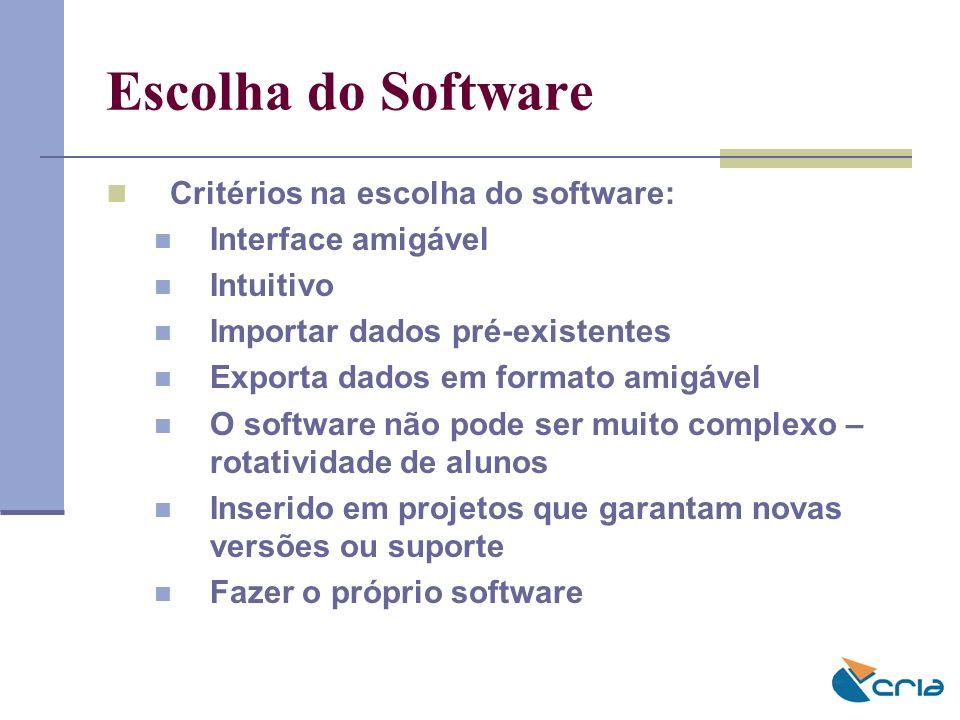 Escolha do Software Critérios na escolha do software: Interface amigável Intuitivo Importar dados pré-existentes Exporta dados em formato amigável O s