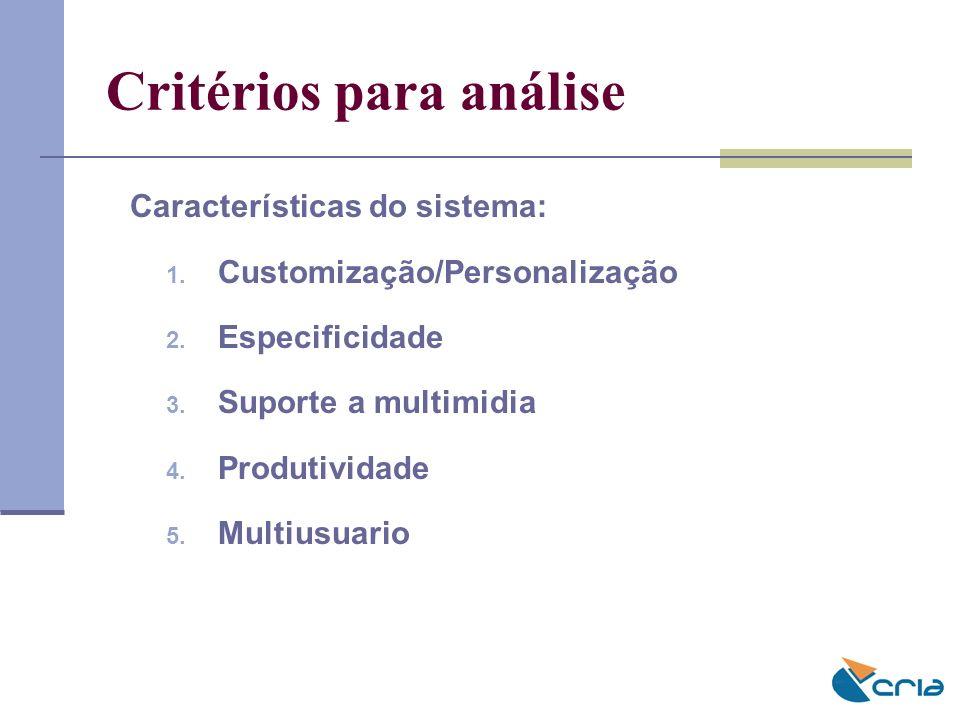Critérios para análise Características do sistema: 1. Customização/Personalização 2. Especificidade 3. Suporte a multimidia 4. Produtividade 5. Multiu