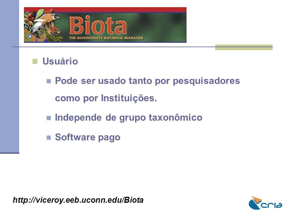 BIOTA Usuário Pode ser usado tanto por pesquisadores como por Instituições. Independe de grupo taxonômico Software pago http://viceroy.eeb.uconn.edu/B