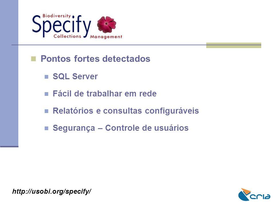 Pontos fortes detectados SQL Server Fácil de trabalhar em rede Relatórios e consultas configuráveis Segurança – Controle de usuários http://usobi.org/