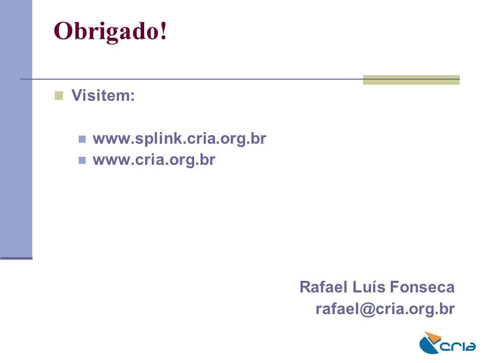 Visitem: www.splink.cria.org.br www.cria.org.br Rafael Luís Fonseca rafael@cria.org.br Obrigado!
