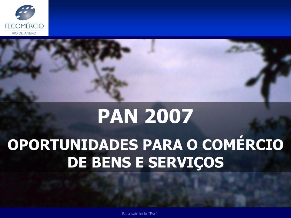 PAN 2007 OPORTUNIDADES PARA O COMÉRCIO DE BENS E SERVIÇOS Para sair tecle Esc
