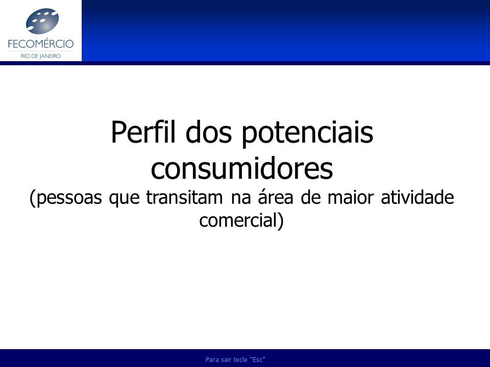 Para sair tecle Esc Perfil dos potenciais consumidores (pessoas que transitam na área de maior atividade comercial)