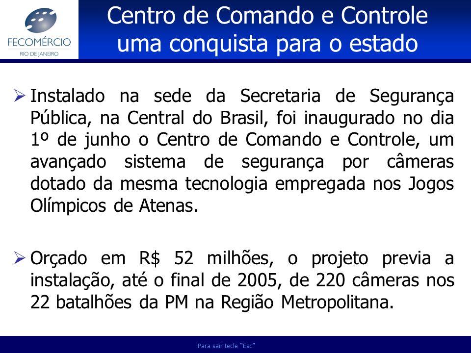 Para sair tecle Esc Instalado na sede da Secretaria de Segurança Pública, na Central do Brasil, foi inaugurado no dia 1º de junho o Centro de Comando