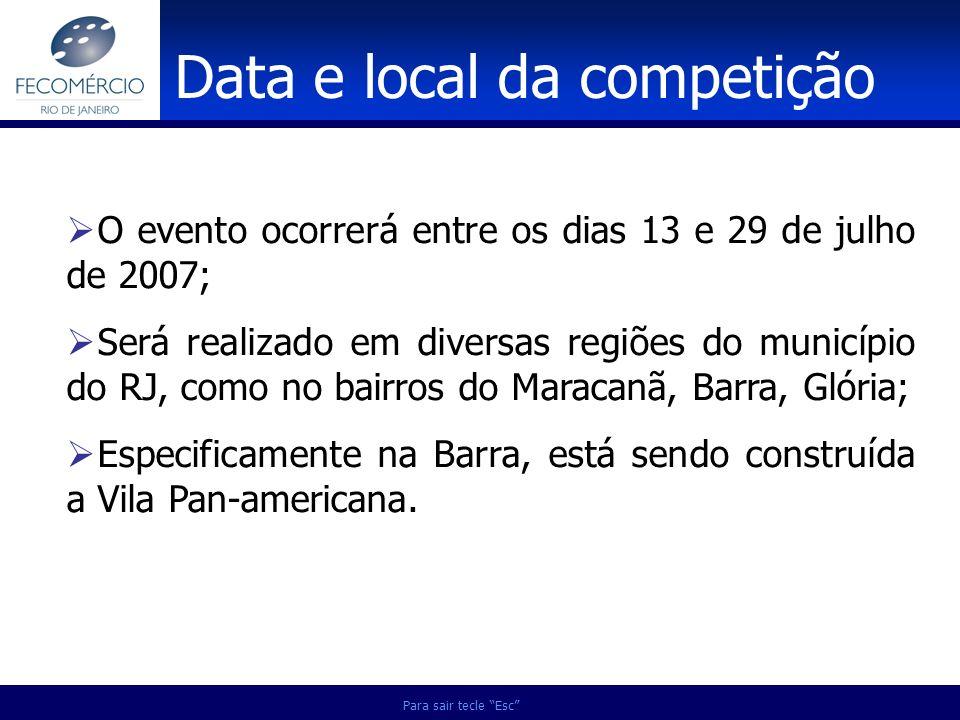 O evento ocorrerá entre os dias 13 e 29 de julho de 2007; Será realizado em diversas regiões do município do RJ, como no bairros do Maracanã, Barra, G