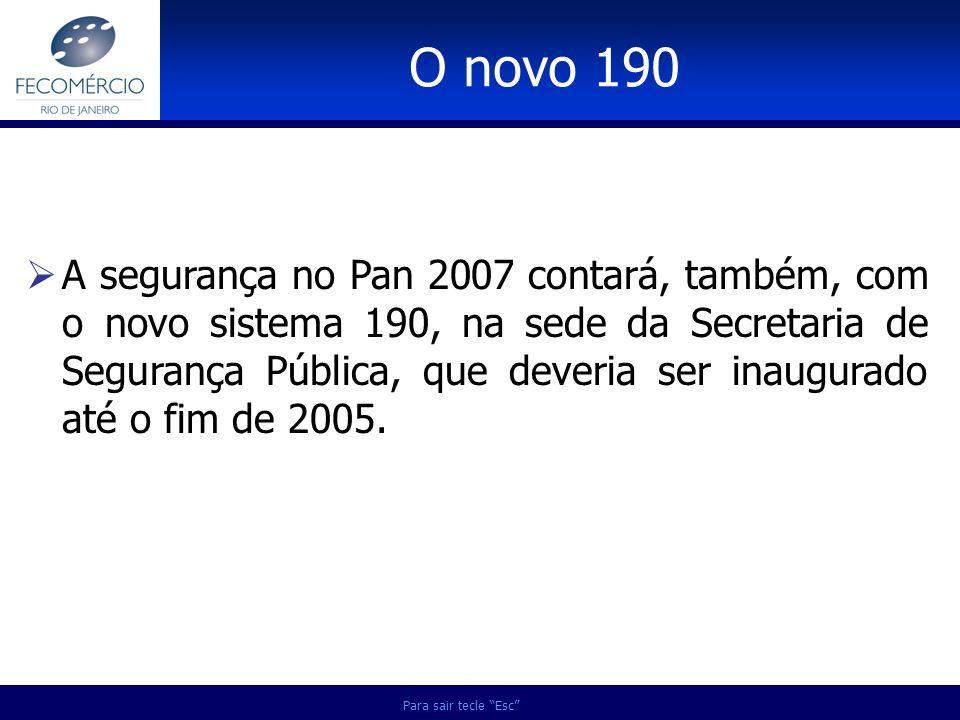 Para sair tecle Esc A segurança no Pan 2007 contará, também, com o novo sistema 190, na sede da Secretaria de Segurança Pública, que deveria ser inaug