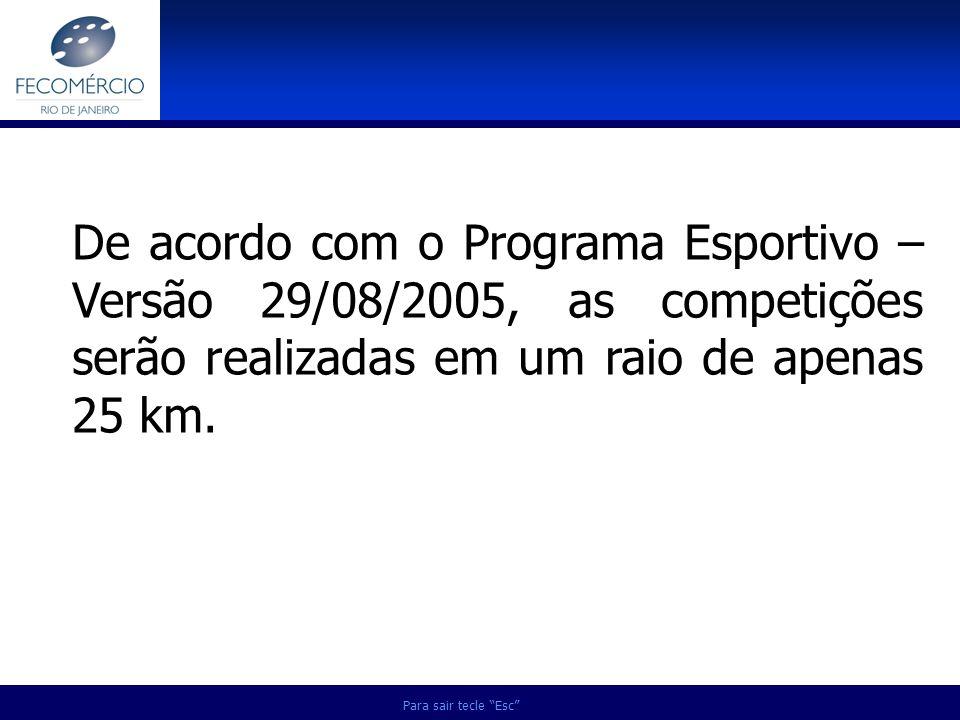 Para sair tecle Esc De acordo com o Programa Esportivo – Versão 29/08/2005, as competições serão realizadas em um raio de apenas 25 km.