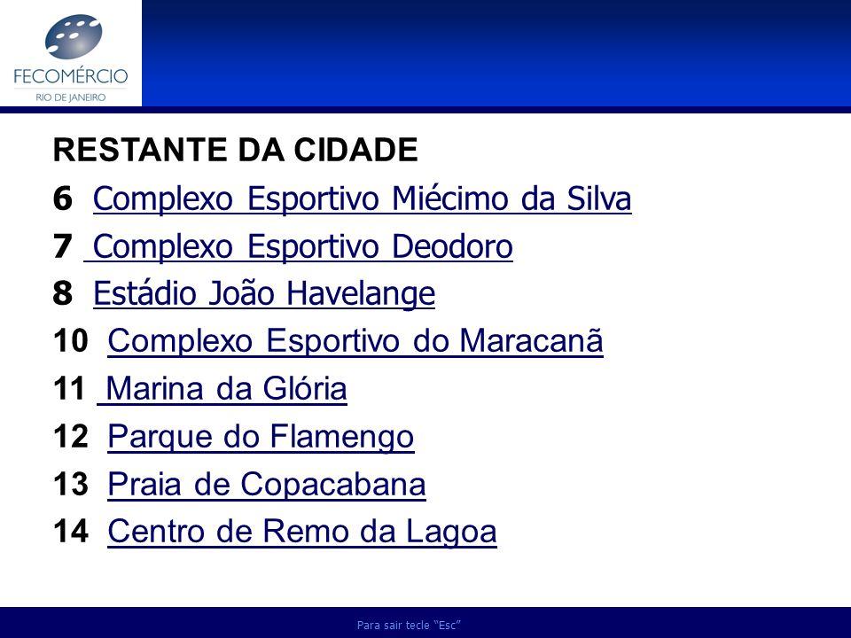 Para sair tecle Esc RESTANTE DA CIDADE 6 Complexo Esportivo Miécimo da SilvaComplexo Esportivo Miécimo da Silva 7 Complexo Esportivo Deodoro Complexo