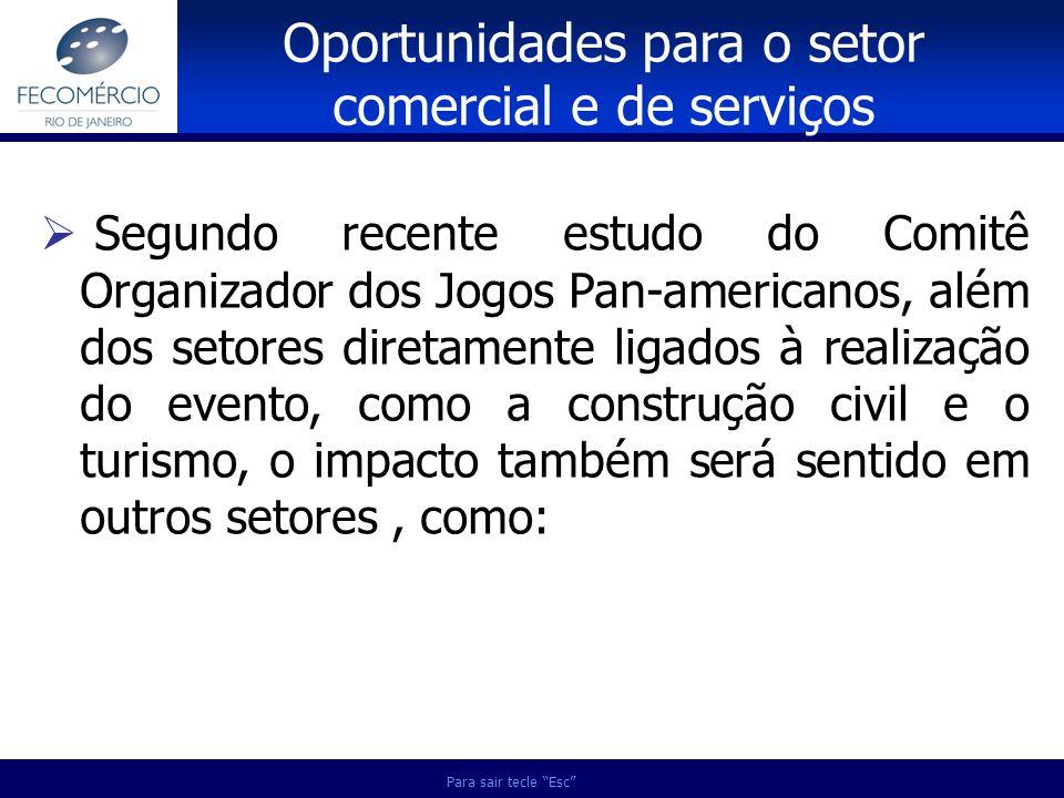 Para sair tecle Esc Segundo recente estudo do Comitê Organizador dos Jogos Pan-americanos, além dos setores diretamente ligados à realização do evento