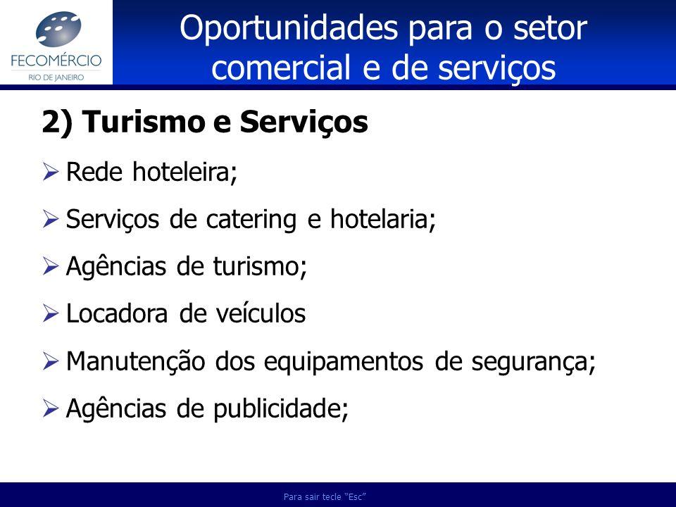 Para sair tecle Esc 2) Turismo e Serviços Rede hoteleira; Serviços de catering e hotelaria; Agências de turismo; Locadora de veículos Manutenção dos e