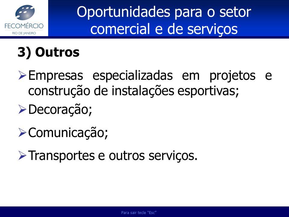 Para sair tecle Esc 3) Outros Empresas especializadas em projetos e construção de instalações esportivas; Decoração; Comunicação; Transportes e outros