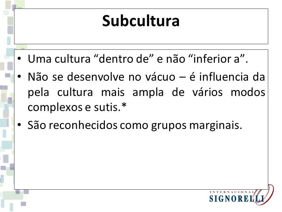 Subcultura Uma cultura dentro de e não inferior a. Não se desenvolve no vácuo – é influencia da pela cultura mais ampla de vários modos complexos e su