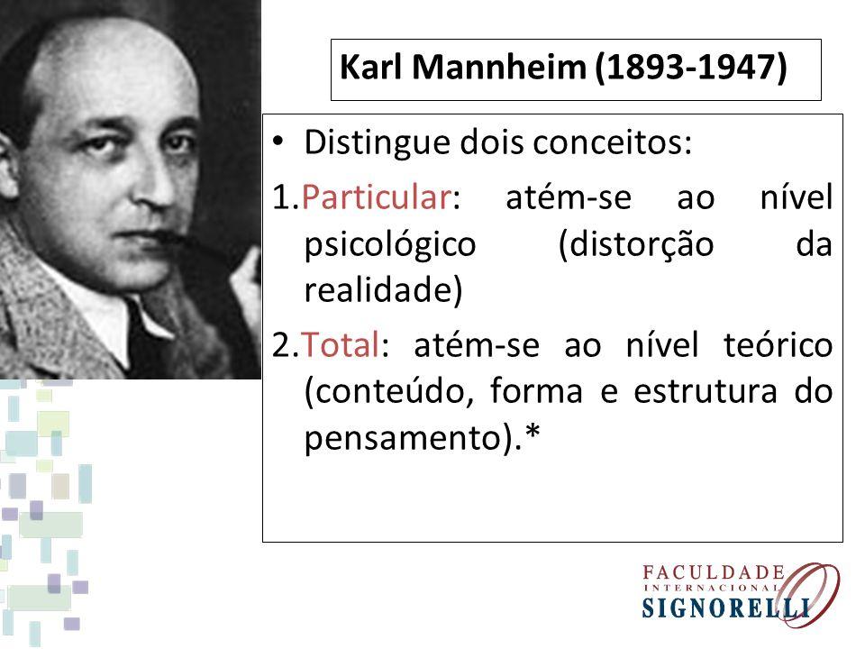 Karl Mannheim (1893-1947) Distingue dois conceitos: 1.Particular: atém-se ao nível psicológico (distorção da realidade) 2.Total: atém-se ao nível teór