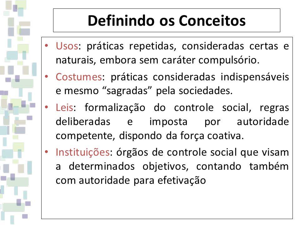 Definindo os Conceitos Usos: práticas repetidas, consideradas certas e naturais, embora sem caráter compulsório. Costumes: práticas consideradas indis