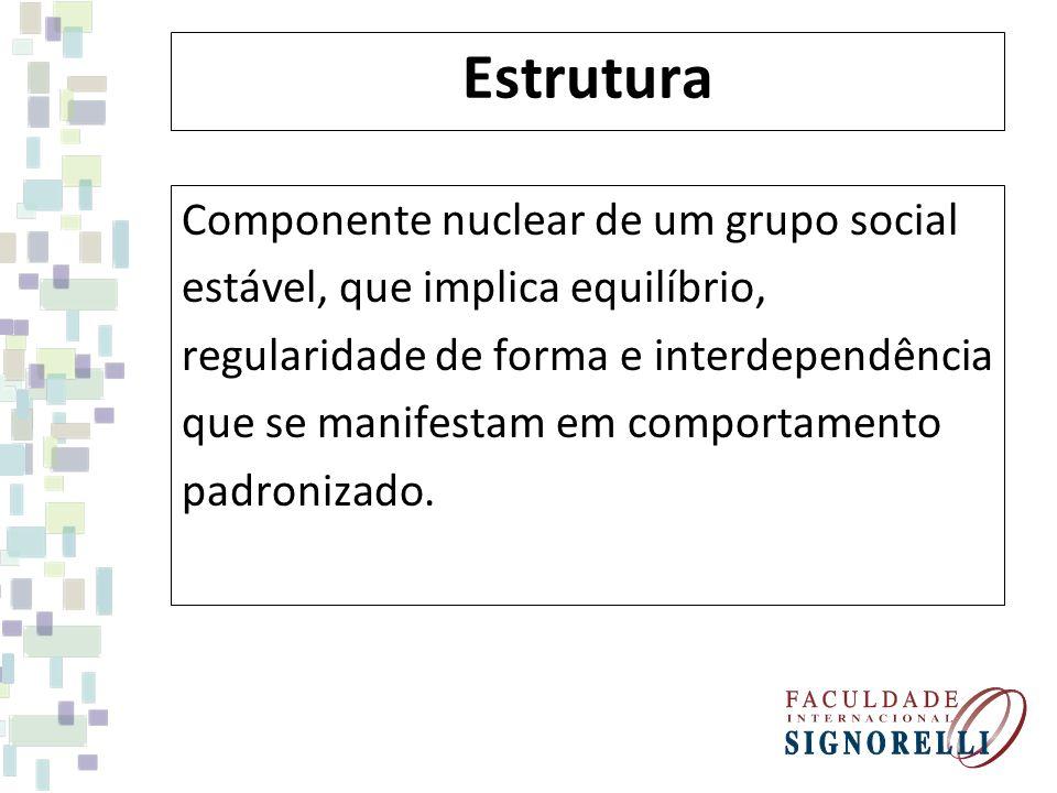 Estrutura Componente nuclear de um grupo social estável, que implica equilíbrio, regularidade de forma e interdependência que se manifestam em comport
