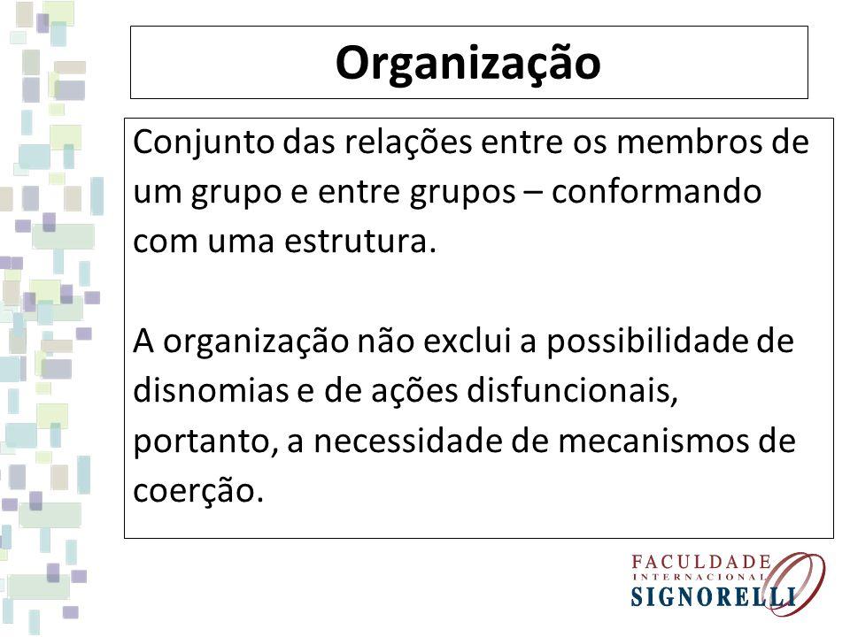 Organização Conjunto das relações entre os membros de um grupo e entre grupos – conformando com uma estrutura. A organização não exclui a possibilidad