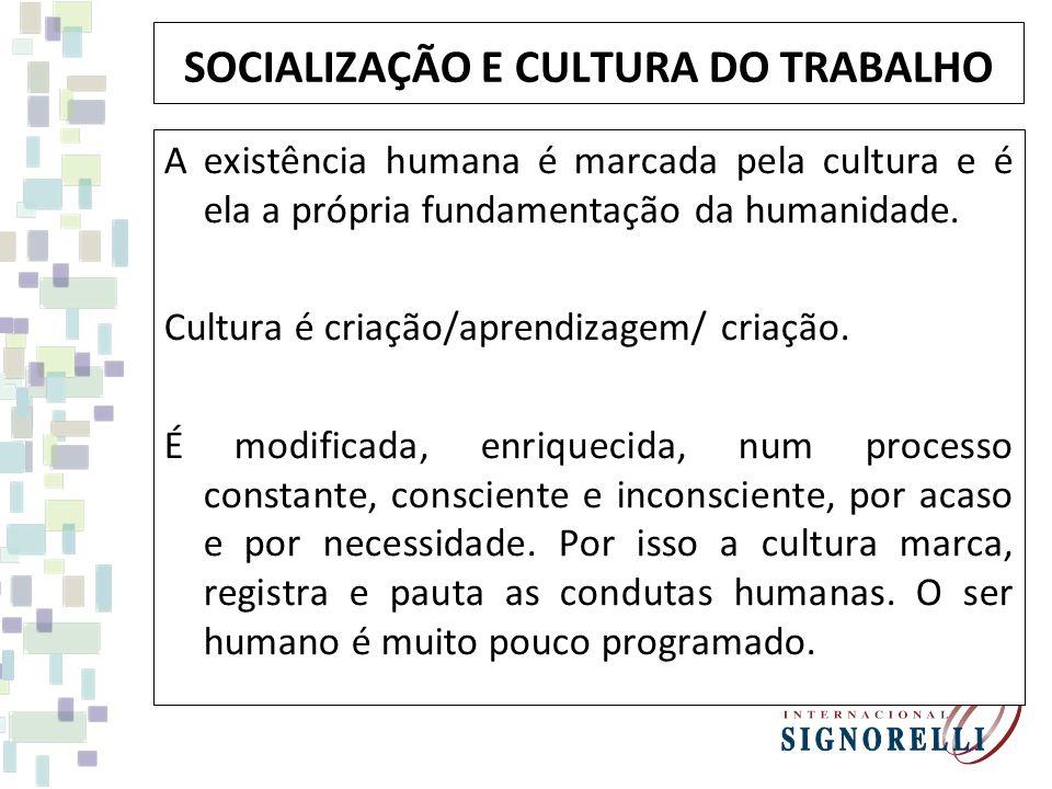 SOCIALIZAÇÃO E CULTURA DO TRABALHO A existência humana é marcada pela cultura e é ela a própria fundamentação da humanidade. Cultura é criação/aprendi
