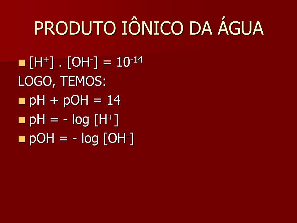 PRODUTO IÔNICO DA ÁGUA [H + ].[OH - ] = 10 -14 [H + ].