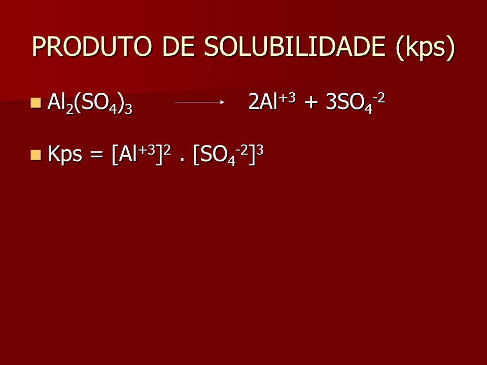 PRODUTO DE SOLUBILIDADE (kps) Al 2 (SO 4 ) 3 2Al +3 + 3SO 4 -2 Al 2 (SO 4 ) 3 2Al +3 + 3SO 4 -2 Kps = [Al +3 ] 2.