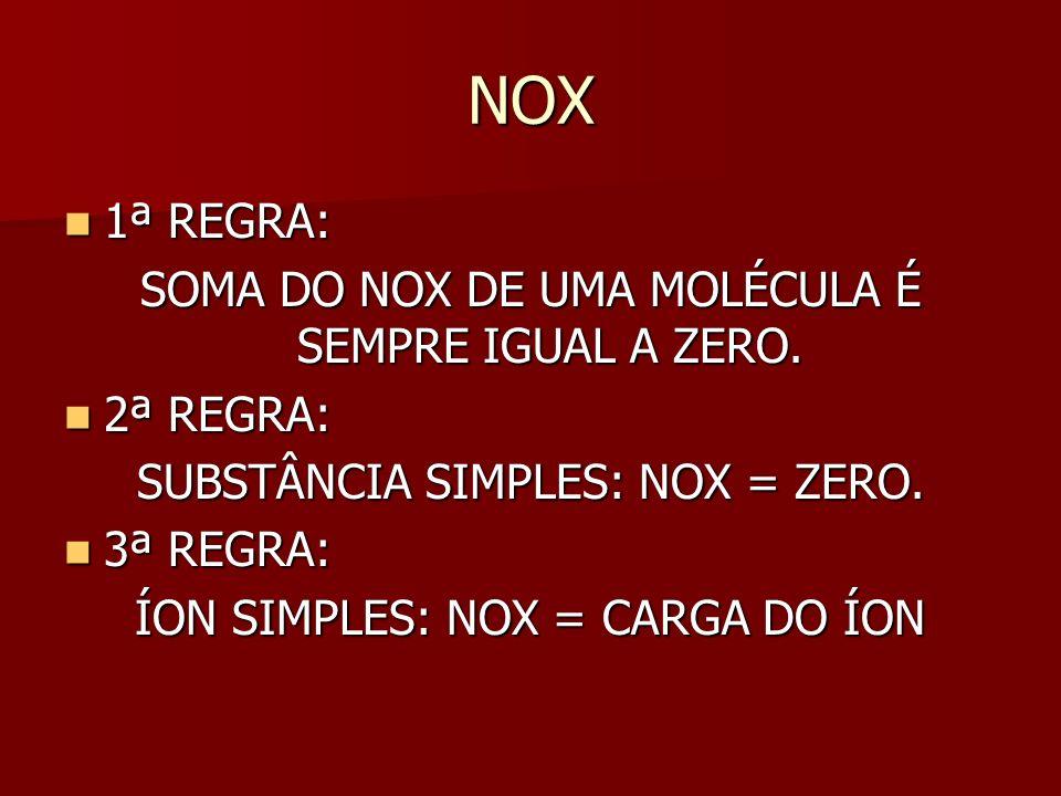 NOX 1ª REGRA: 1ª REGRA: SOMA DO NOX DE UMA MOLÉCULA É SEMPRE IGUAL A ZERO.