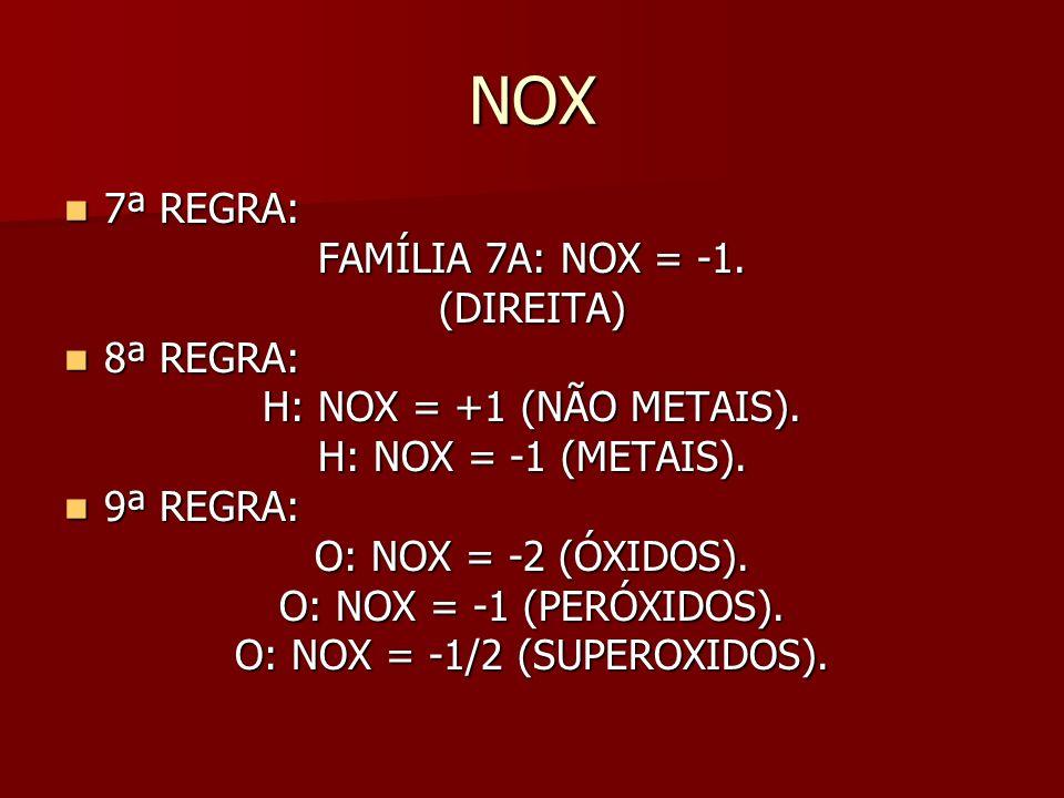 NOX 7ª REGRA: 7ª REGRA: FAMÍLIA 7A: NOX = -1.