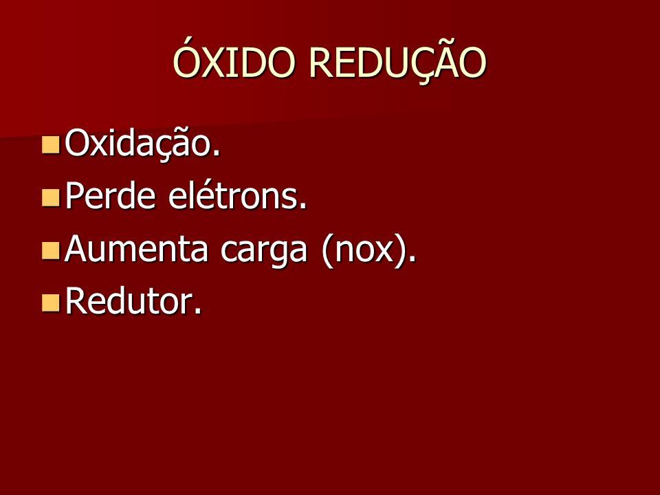 ÓXIDO REDUÇÃO Oxidação.Oxidação. Perde elétrons. Perde elétrons.