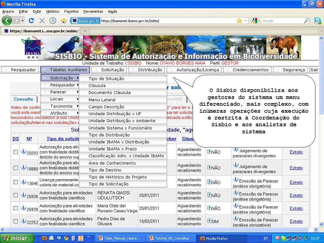 O Sisbio disponibiliza aos gestores do sistema um menu diferenciado, mais complexo, com inúmeras operações cuja execução é restrita à Coordenação do Sisbio e aos analistas de sistema