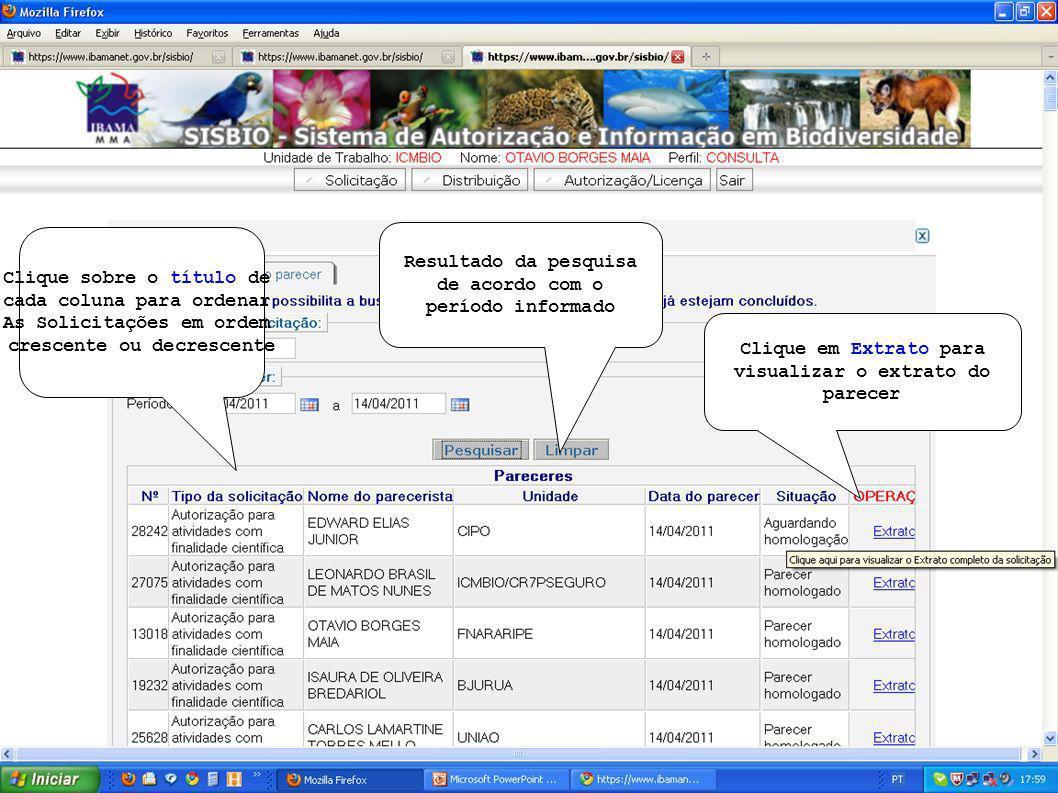 Clique em Extrato para visualizar o extrato do parecer Resultado da pesquisa de acordo com o período informado Clique sobre o título de cada coluna para ordenar As Solicitações em ordem crescente ou decrescente
