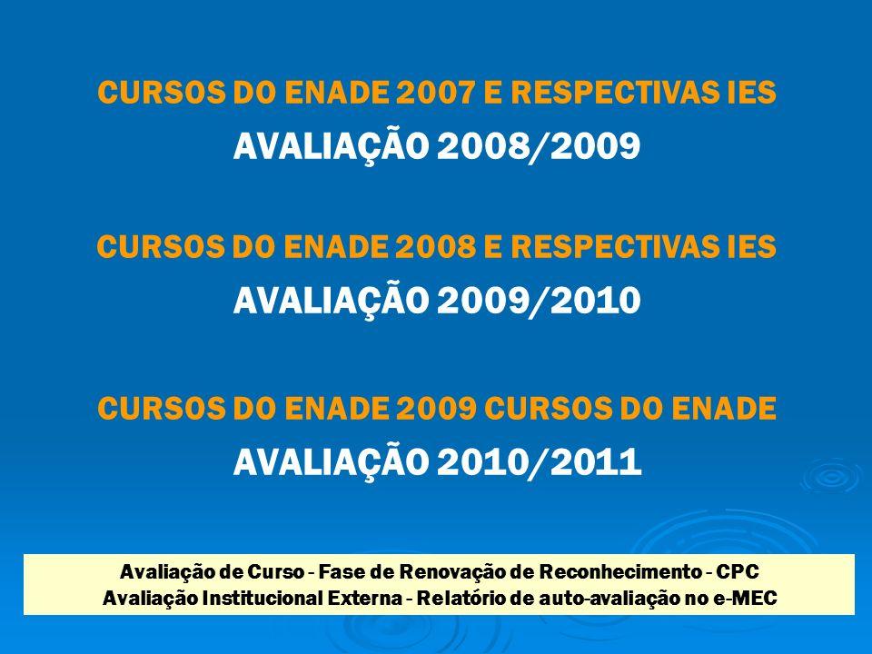 CURSOS DO ENADE 2007 E RESPECTIVAS IES AVALIAÇÃO 2008/2009 CURSOS DO ENADE 2008 E RESPECTIVAS IES AVALIAÇÃO 2009/2010 CURSOS DO ENADE 2009 CURSOS DO ENADE AVALIAÇÃO 2010/2011 Avaliação de Curso - Fase de Renovação de Reconhecimento - CPC Avaliação Institucional Externa - Relatório de auto-avaliação no e-MEC