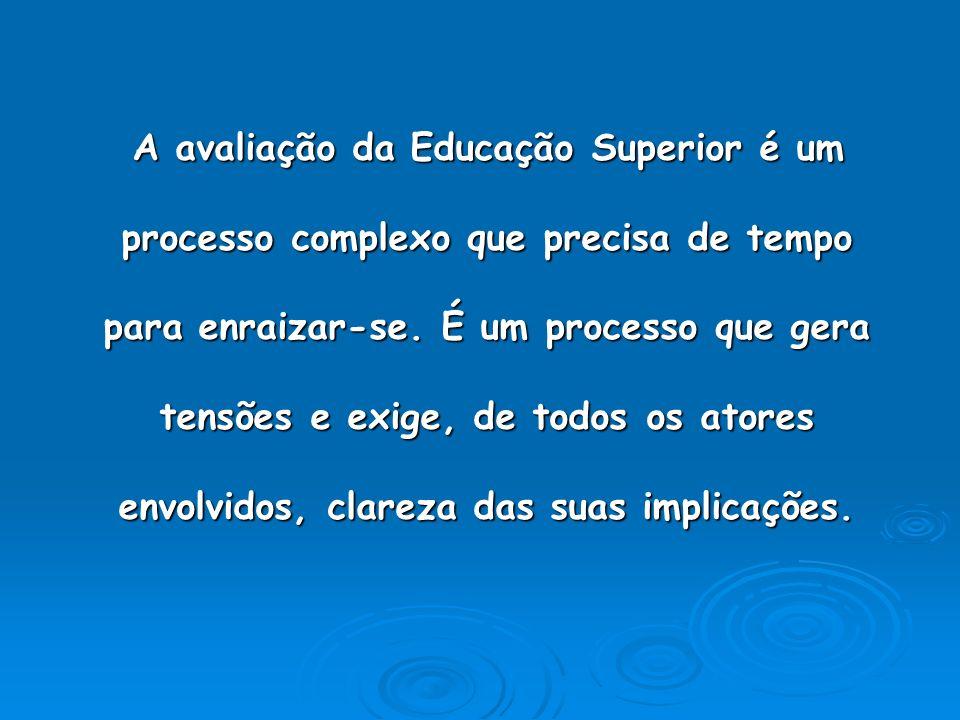 A avaliação da Educação Superior é um processo complexo que precisa de tempo para enraizar-se. É um processo que gera tensões e exige, de todos os ato