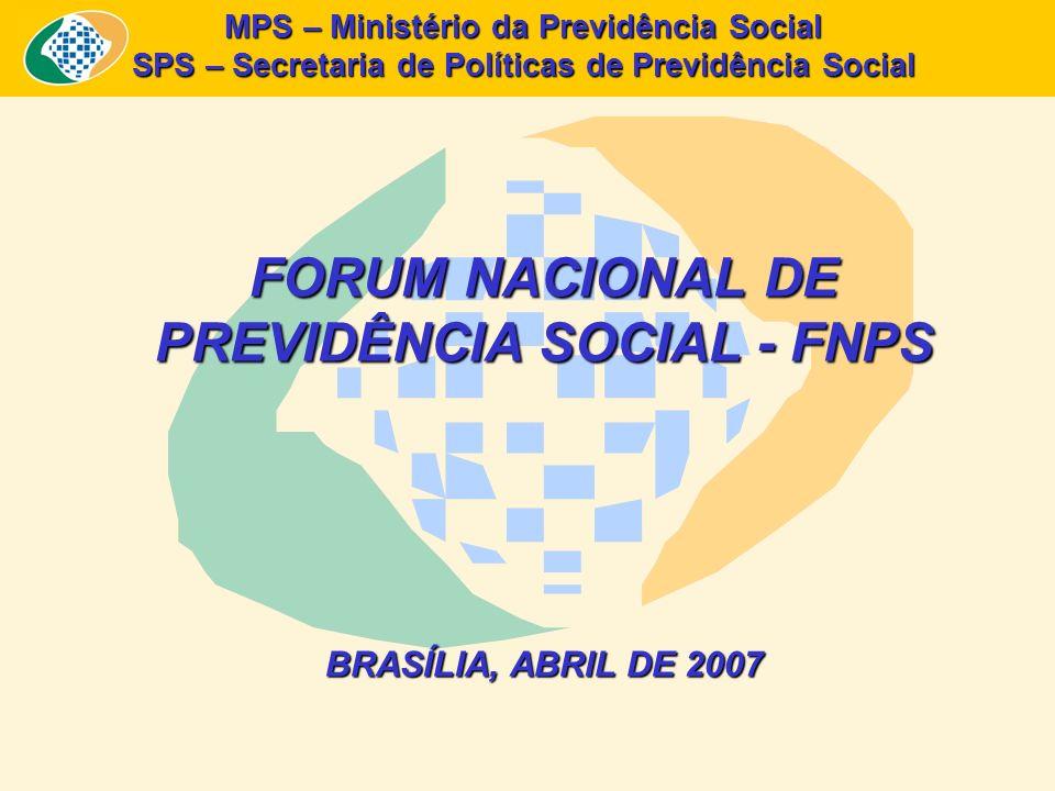 MPS – Ministério da Previdência Social SPS – Secretaria de Políticas de Previdência Social FORUM NACIONAL DE PREVIDÊNCIA SOCIAL - FNPS BRASÍLIA, ABRIL