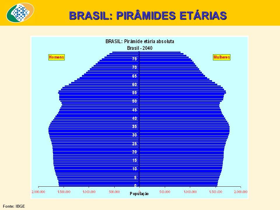 Fonte: IBGE BRASIL: PIRÂMIDES ETÁRIAS