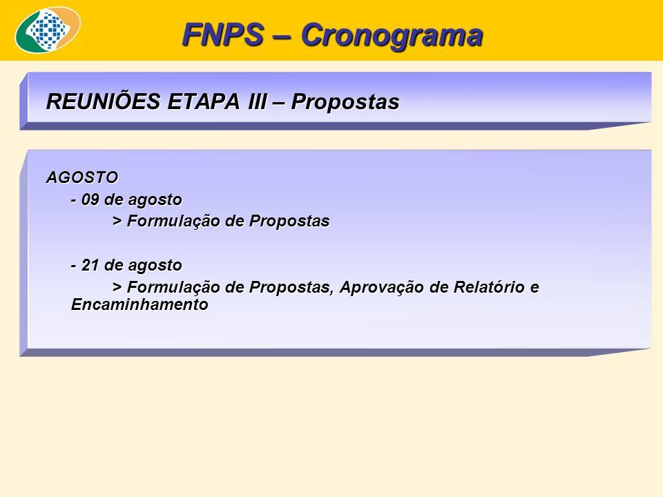 REUNIÕES ETAPA III – Propostas AGOSTO - 09 de agosto > Formulação de Propostas - 21 de agosto > Formulação de Propostas, Aprovação de Relatório e Encaminhamento FNPS – Cronograma