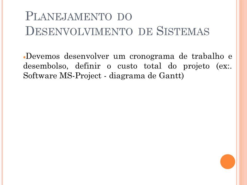 P LANEJAMENTO DO D ESENVOLVIMENTO DE S ISTEMAS Devemos desenvolver um cronograma de trabalho e desembolso, definir o custo total do projeto (ex:.