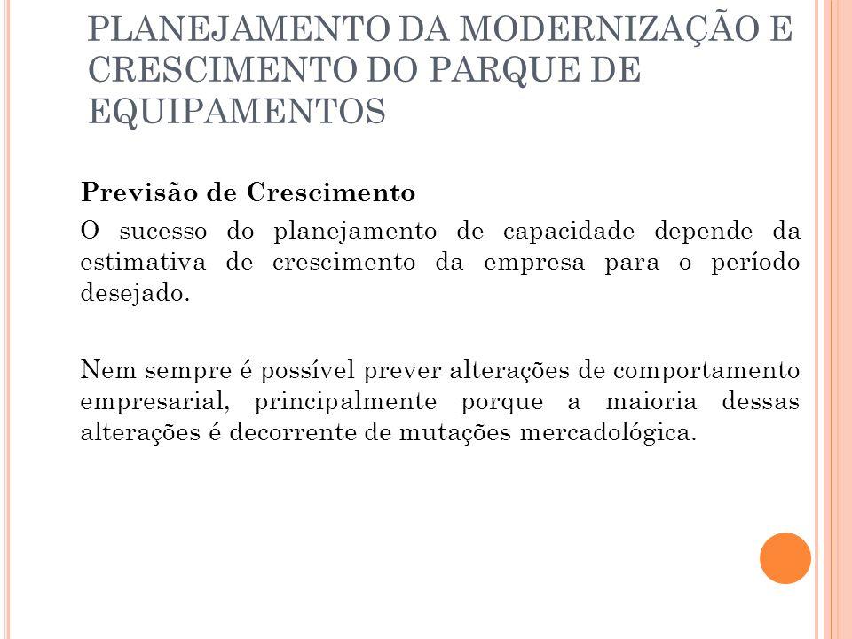PLANEJAMENTO DA MODERNIZAÇÃO E CRESCIMENTO DO PARQUE DE EQUIPAMENTOS Previsão de Crescimento O sucesso do planejamento de capacidade depende da estimativa de crescimento da empresa para o período desejado.