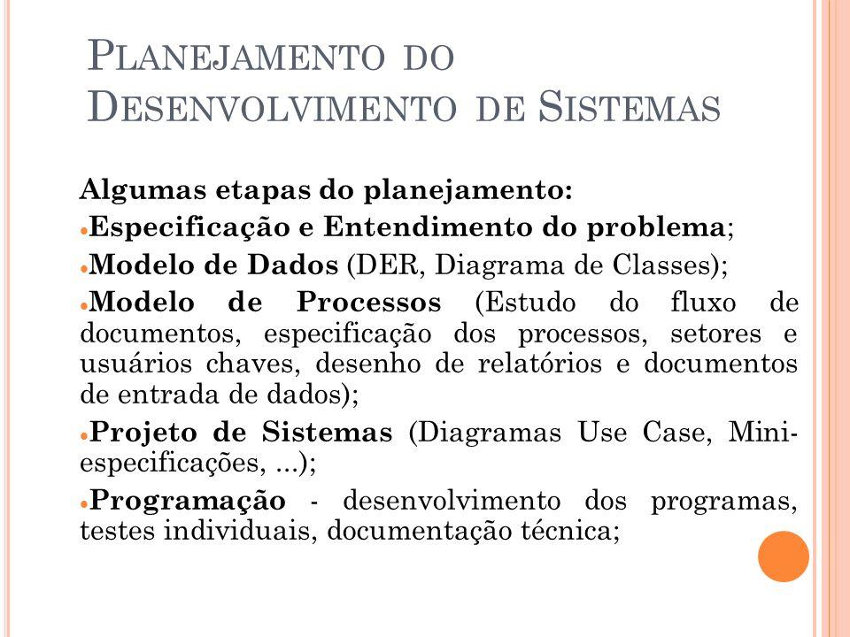 P LANEJAMENTO DO D ESENVOLVIMENTO DE S ISTEMAS Algumas etapas do planejamento: Especificação e Entendimento do problema ; Modelo de Dados (DER, Diagrama de Classes); Modelo de Processos (Estudo do fluxo de documentos, especificação dos processos, setores e usuários chaves, desenho de relatórios e documentos de entrada de dados); Projeto de Sistemas (Diagramas Use Case, Mini- especificações,...); Programação - desenvolvimento dos programas, testes individuais, documentação técnica;