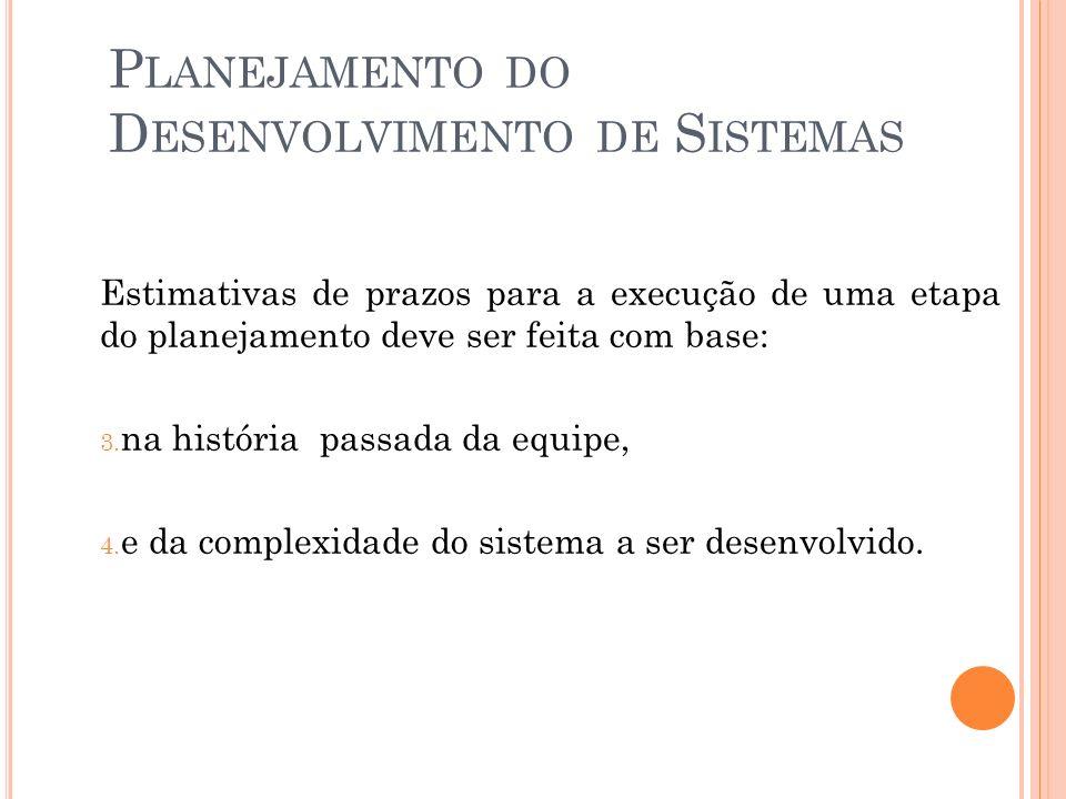 P LANEJAMENTO DO D ESENVOLVIMENTO DE S ISTEMAS Estimativas de prazos para a execução de uma etapa do planejamento deve ser feita com base: 3.