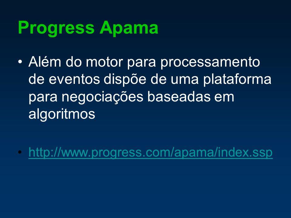 Progress Apama Além do motor para processamento de eventos dispõe de uma plataforma para negociações baseadas em algoritmos http://www.progress.com/apama/index.ssp