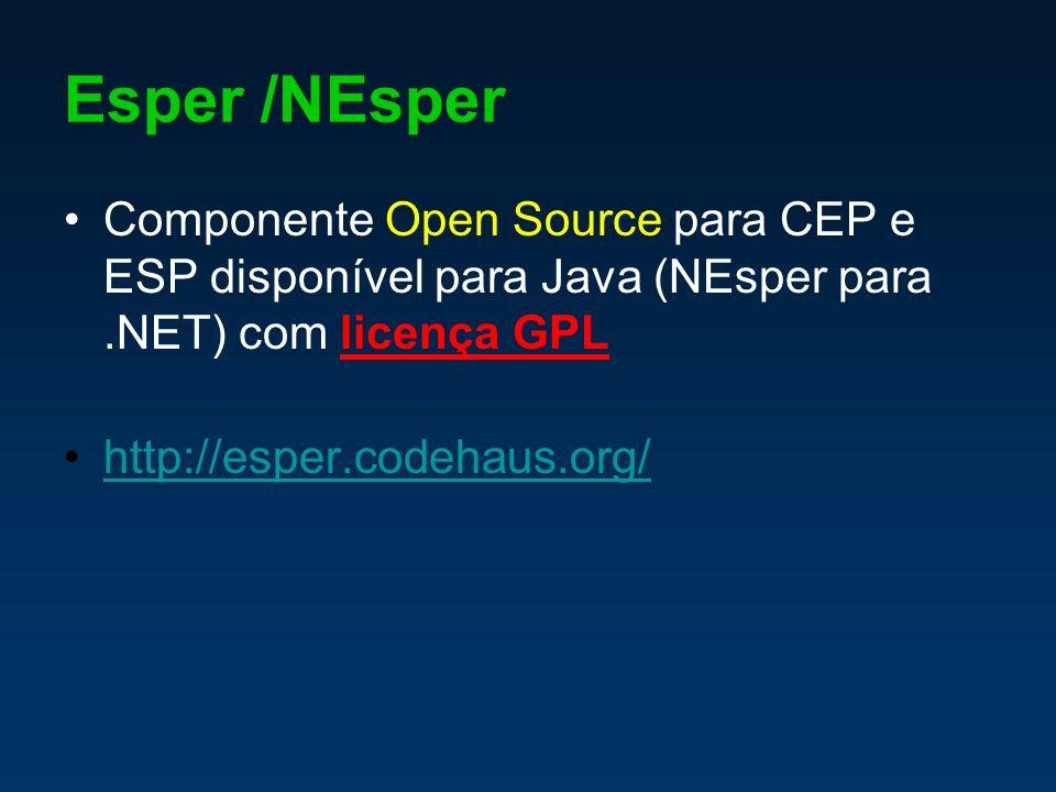 Esper /NEsper Componente Open Source para CEP e ESP disponível para Java (NEsper para.NET) com licença GPL http://esper.codehaus.org/